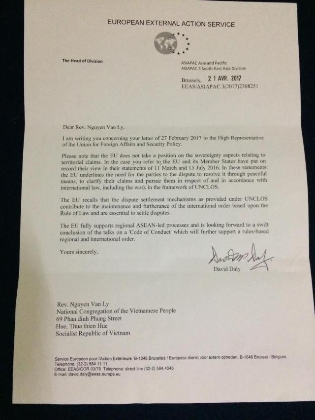 thu trả lời VP LH Âu Châu